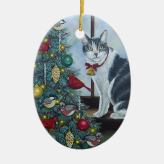 Ornement Ovale En Céramique Chat de Noël 0417
