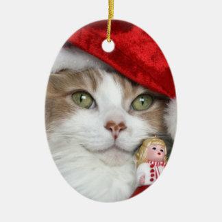 Ornement Ovale En Céramique Chat de Père Noël - chat de Noël - chatons mignons
