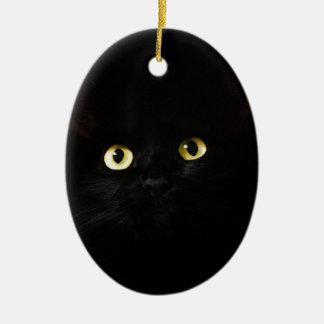 Ornement Ovale En Céramique Chat de plots réflectorisés de vue de chat noir