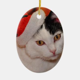 Ornement Ovale En Céramique Chat du père noël - Joyeux Noël - choyez le chat