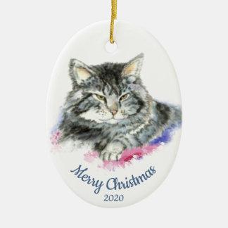 Ornement Ovale En Céramique Chat tigré d'aquarelle datée de Noël de coutume
