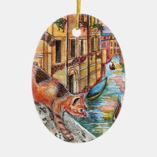 Ornement Ovale En Céramique Chats à Venise