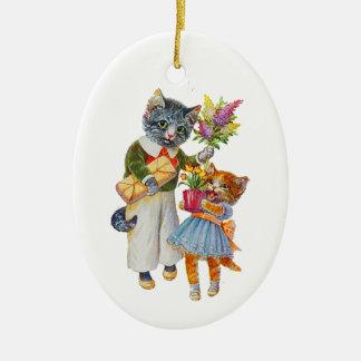 Ornement Ovale En Céramique Chats d'Arthur Thiele soutenant des cadeaux
