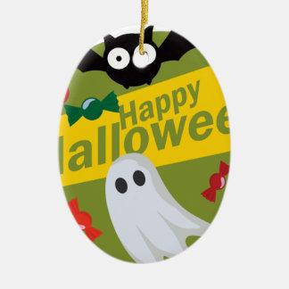 Ornement Ovale En Céramique Chauves-souris et fantômes heureux de Halloween