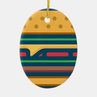 Ornement Ovale En Céramique Cheeseburger de Charbroiled