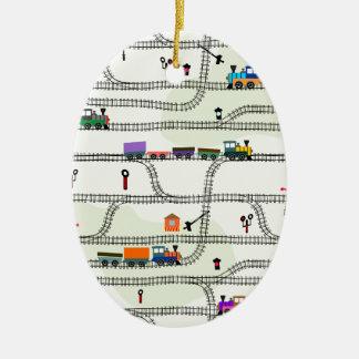 Ornement Ovale En Céramique Chemin de fer