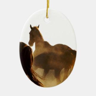 Ornement Ovale En Céramique cheval de lasso de cowboy