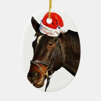 Ornement Ovale En Céramique Cheval père Noël - cheval de Noël - Joyeux Noël