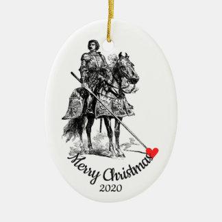 Ornement Ovale En Céramique Chevalier daté de Noël de coutume dans l'amusement