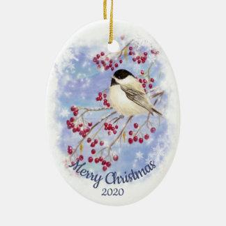 Ornement Ovale En Céramique Chickadee daté d'hiver d'aquarelle de Noël de