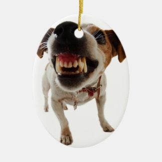 Ornement Ovale En Céramique Chien agressif - chien fâché - chien drôle