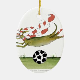 Ornement Ovale En Céramique chien du football de rouges