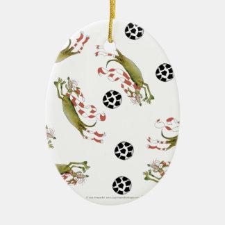 Ornement Ovale En Céramique chiens du football de rouges