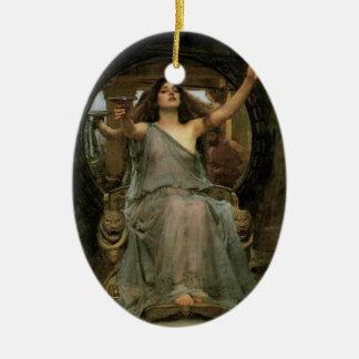 Ornement Ovale En Céramique Circe offrant la tasse à Ulysse par le château