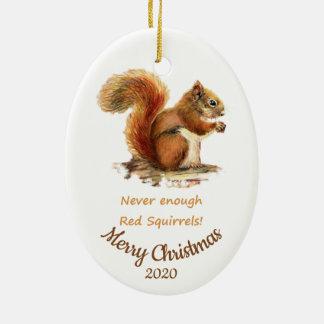 Ornement Ovale En Céramique Citation datée par coutume d'écureuil rouge
