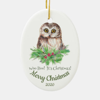 Ornement Ovale En Céramique Citation drôle de hibou de Noël datée par coutume