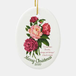 Ornement Ovale En Céramique Citation vintage de pivoine de Noël datée par