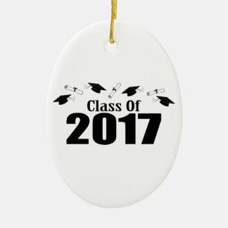 Ornement Ovale En Céramique Classe de casquettes et de diplômes de 2017 (noir)