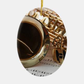 Ornement Ovale En Céramique Clés de Notenblatt de lustre d'or de musique de
