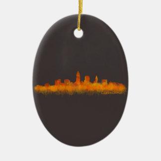 Ornement Ovale En Céramique Cleveland ville US skyline watercolor