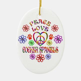 Ornement Ovale En Céramique Cockers d'amour de paix