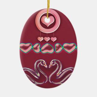 Ornement Ovale En Céramique coeur