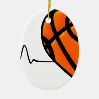 Ornement Ovale En Céramique COEUR de basket-ball