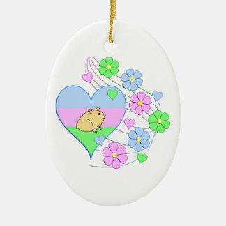 Ornement Ovale En Céramique Coeur de hamster d'amusement