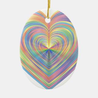 Ornement Ovale En Céramique Coeur en pastel
