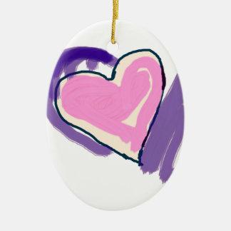 Ornement Ovale En Céramique Coeur rose