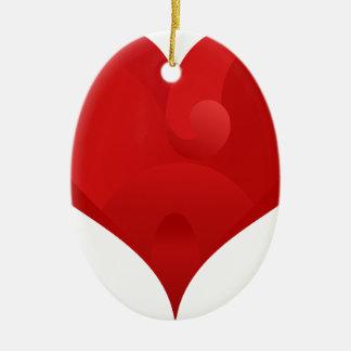 Ornement Ovale En Céramique Coeur rouge pour le Saint Valentin
