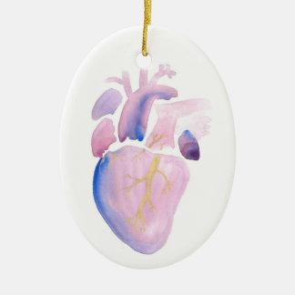 Ornement Ovale En Céramique Coeur très violet
