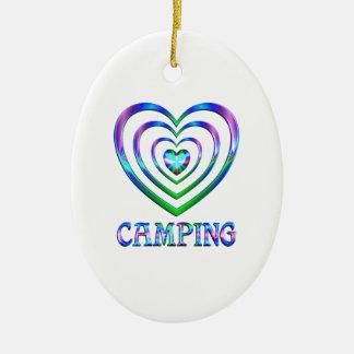Ornement Ovale En Céramique Coeurs de camping