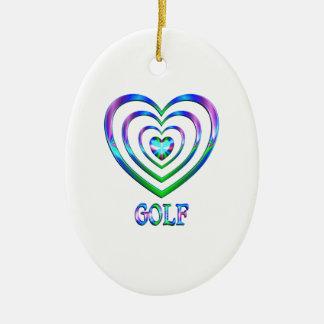 Ornement Ovale En Céramique Coeurs de golf