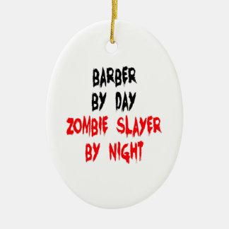 Ornement Ovale En Céramique Coiffeur de tueur de zombi