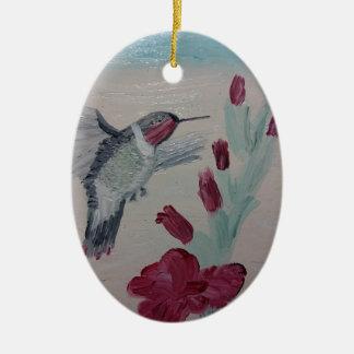 Ornement Ovale En Céramique Colibri douceurs de peinture à l'huile '