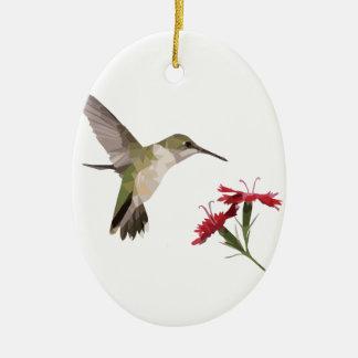 Ornement Ovale En Céramique Colibri et fleur