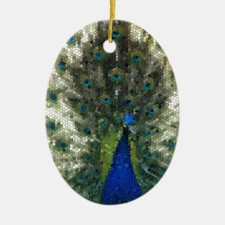 Ornement Ovale En Céramique Collectection mosaîque - Parade amoureuse du Paon