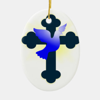 Ornement Ovale En Céramique Colombe et croix