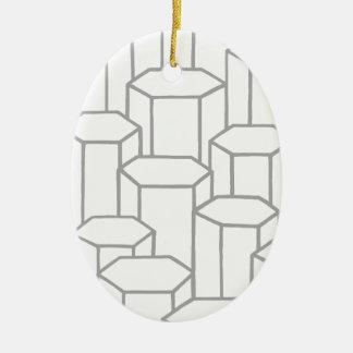 Ornement Ovale En Céramique Colonnes hexagonales