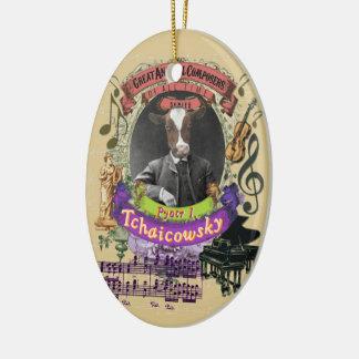 Ornement Ovale En Céramique Compositeur animal Tchaikovsky de vache à Pyotr