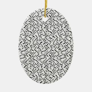 Ornement Ovale En Céramique Conception complexe onduleuse de motif