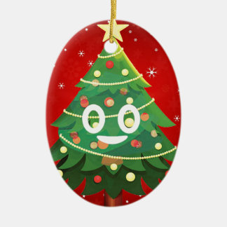 Ornement Ovale En Céramique Conception d'arbre de Noël d'Emoji