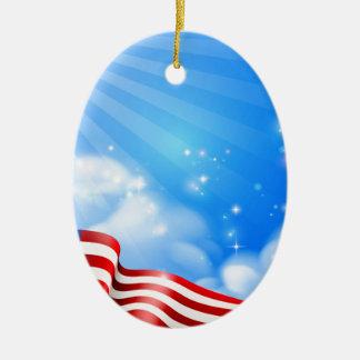 Ornement Ovale En Céramique Conception d'arrière - plan de ciel de drapeau