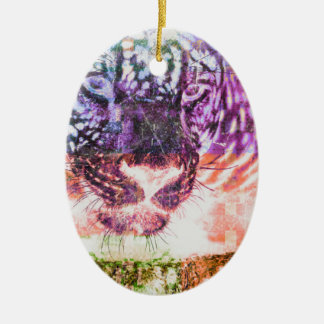 Ornement Ovale En Céramique Conception de chat de Jaguar d'arc-en-ciel