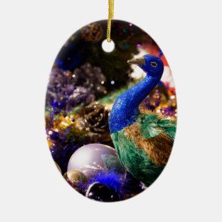 Ornement Ovale En Céramique Conception de Noël de paon