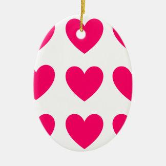 Ornement Ovale En Céramique Conception rose de coeur