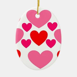 Ornement Ovale En Céramique Conception rose et rouge de coeur