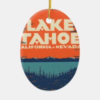 Ornement Ovale En Céramique Conception vintage de décalque de voyage du lac