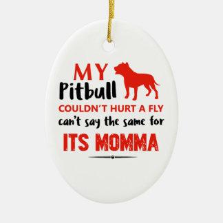 Ornement Ovale En Céramique Conceptions drôles de maman de pitbull